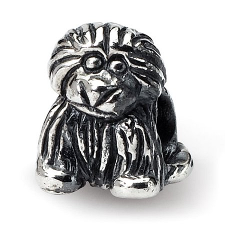 Sterling Silver Polished Antique finish Reflections SimStars Kids Puppy Bead Charm