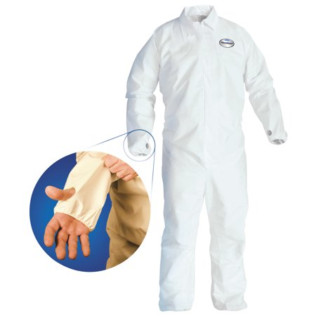 KleenGuard* A40 Breathable Back Coverall with Thumb Hole, White/Blue, X-Large, 25 per Carton