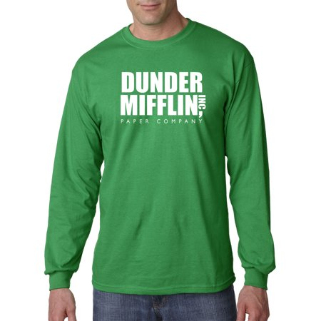 (New Way 872 - Unisex Long-Sleeve T-Shirt Dunder Mifflin Inc Paper Company Office Logo Large Kelly Green)