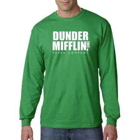 New Way 872 - Unisex Long-Sleeve T-Shirt Dunder Mifflin Inc Paper Company Office Logo Large Kelly