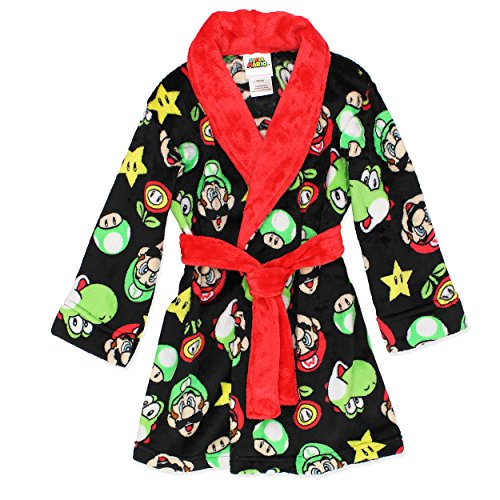 Super Mario Boys Fleece Bathrobe Robe (Large / 10-12, Black/Red)