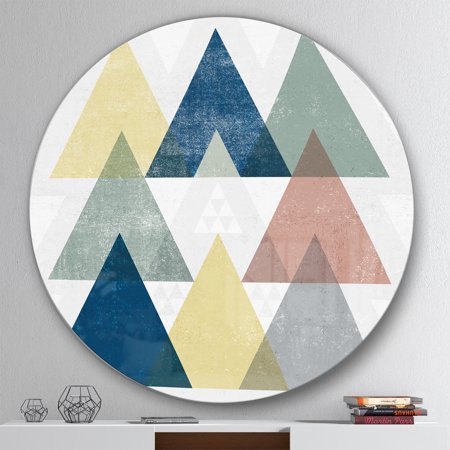 Designart 'Geometrical Composition Triangles II' Geometric Metal Circle Wall Art - image 2 de 3