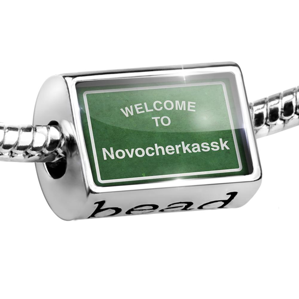 Bead Green Road Sign Welcome To Novocherkassk Charm Fits All European Bracelets
