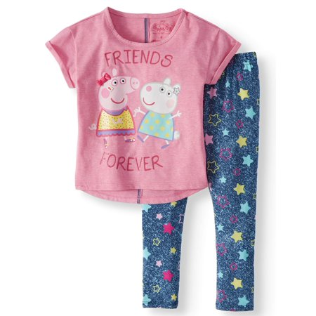 Peppa and Suzy Graphic T-Shirt and Capri Legging, 2-Piece Outfit Set (Little - Legging Outfits For Summer