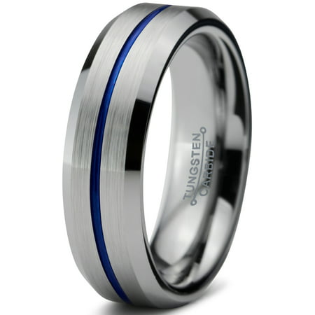 - Tungsten Wedding Band Ring 6mm for Men Women Blue Grey Beveled Edge Brushed Lifetime Guarantee