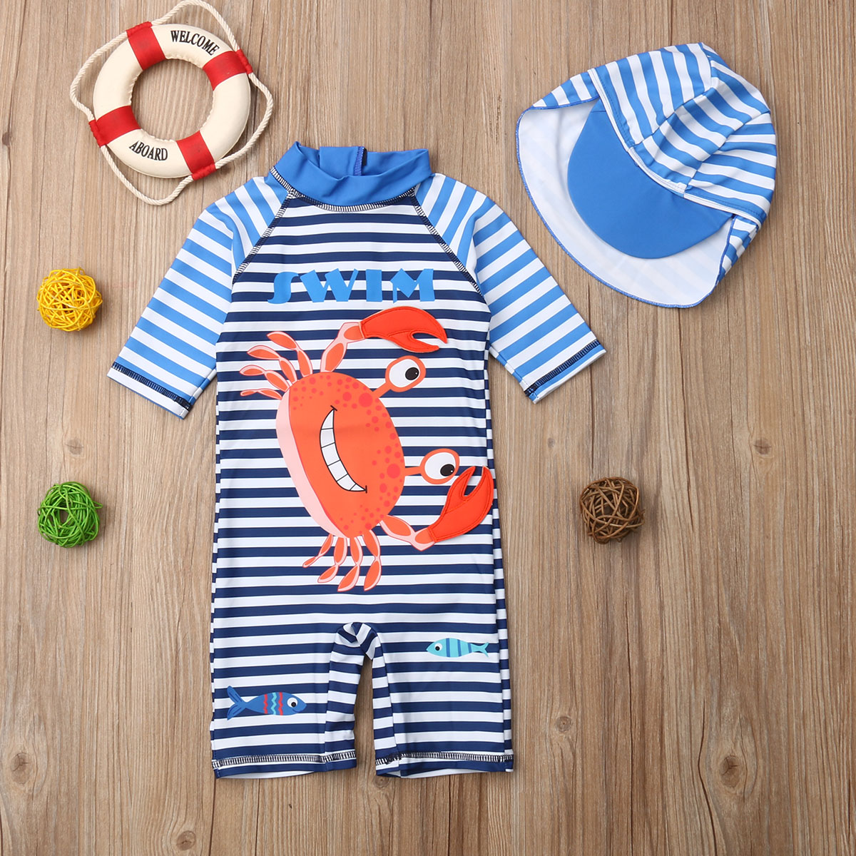 Baby Kids Boys Toddler Two Pieces Short Sleeve Cartoon Animal Quick Dry Sun Protection Swimsuit Swimwear