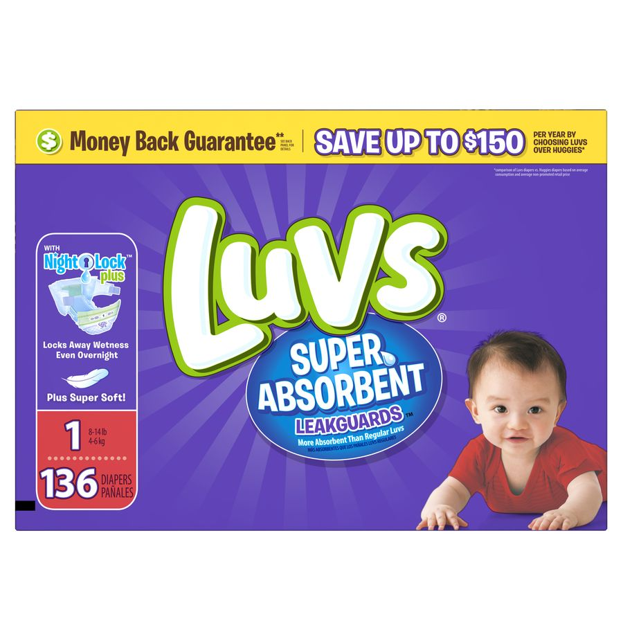 Luvs Super Absorbent Leakguards Diapers, Size 1, 136 Diapers