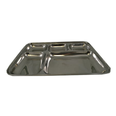 5 Compartment Stainless Steel Sectional Food Serving Tray 10