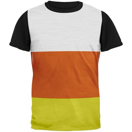 Halloween Candy Corn Costume All Over Mens Black Back T Shirt - Worst Candy For Halloween