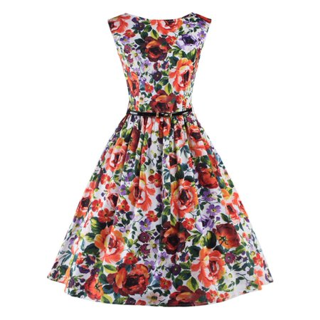 Clothes From The 60's (Lady Vintage Floral Printed 50'S 60'S Swing Pinup Retro Party Housewife)