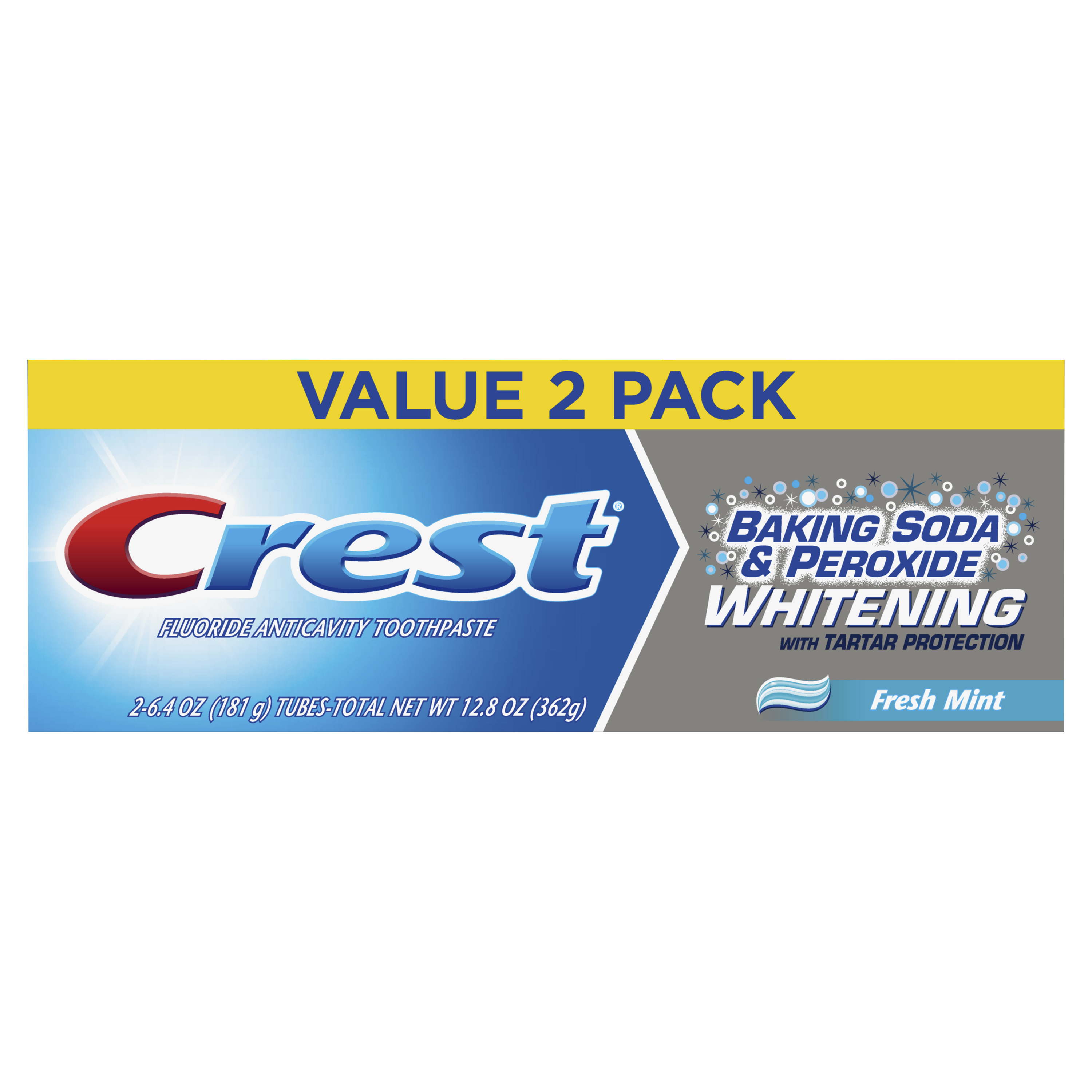 Crest Baking Soda & Peroxide Whitening with Tartar Protection Toothpaste, Fresh Mint, 6.4 oz., Pack of 2