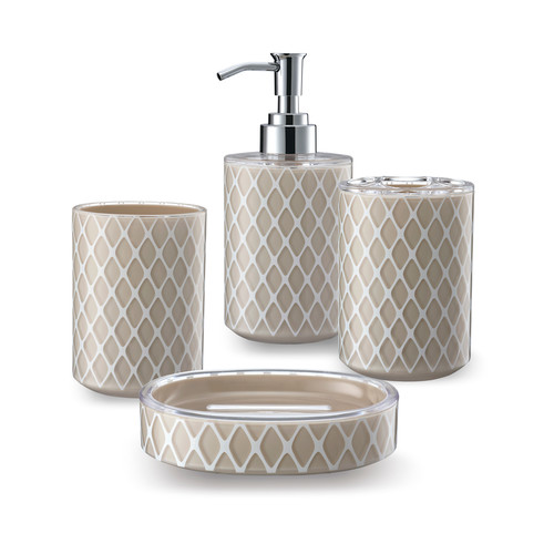 Immanuel 3D Net Work 4-Piece Bathroom Accessory Set