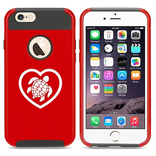 Apple iPhone 6 Plus / 6s Plus Shockproof Impact Hard Case Cover Heart Love Turtle (Red),MIP