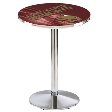 Holland Bar Stool L214C3636TexsSt 36 in. Texas State Bobcats Pub Table with 36 in. Top, Chrome - image 1 of 1