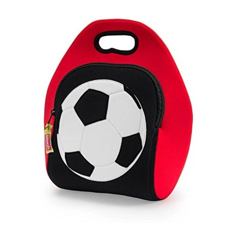 Dabbawalla Bags Game On Soccer Kids' Insulated Washable and Eco-Friendly Sports Lunch Bag Tote Red/Black