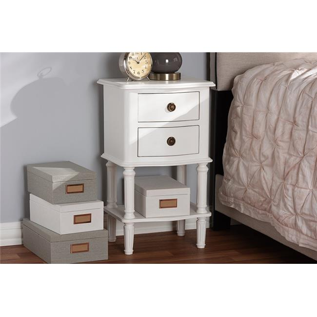 Baxton Studio GLA5-White-NS 25.59 x 15.75 x 11.81 in. Audrey Country Cottage Farmhouse Finished 2 Drawer Nightstand - White - image 1 de 1
