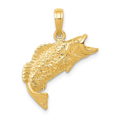 14k Yellow Gold Textured Bass Fish Pendant Charm Necklace Animal Sea Life Man Gift For Dad Mens For Him