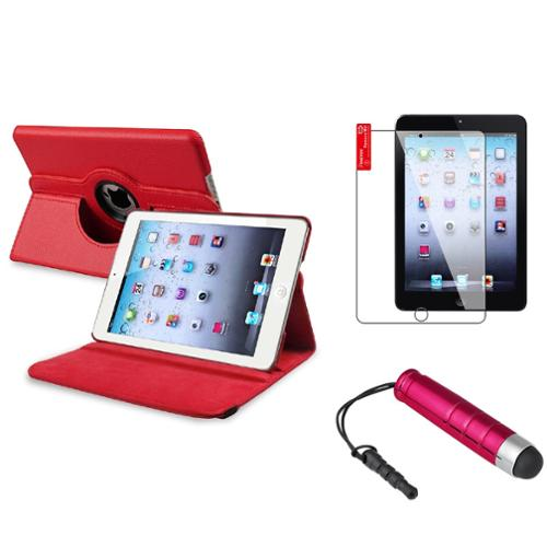 iPad Mini 3/2/1 Case, by Insten Red Swivel Leather Case Stand+Protector/Pen for Apple iPad Mini 3rd 3 2nd 1 1st Gen