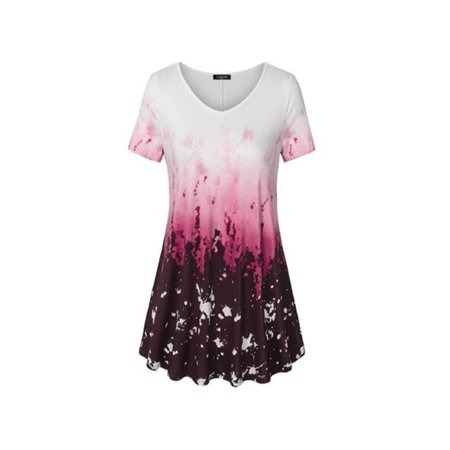Women's Floral Short Sleeve Swing Loose T-Shirt