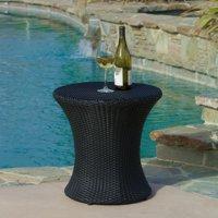 Townsgate Outdoor Boho Wicker Side Table, Black