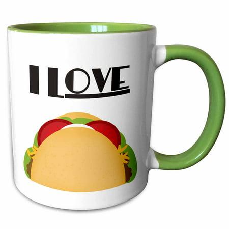 3dRose I Love Tacos Mexican Food art - Two Tone Green Mug,