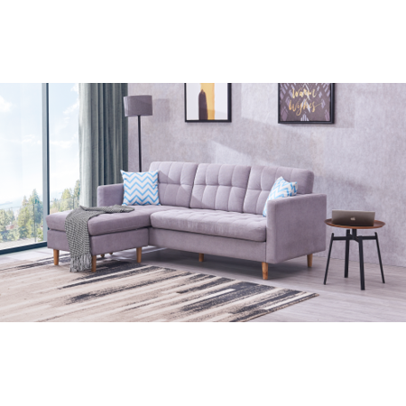 Harper& Bright Designs Modern Chaise Sectional Fabric Sofa Couch, Purple