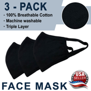New Face Mask Triple Layers 100% Cotton - Washable and Reusable - Pack of 3
