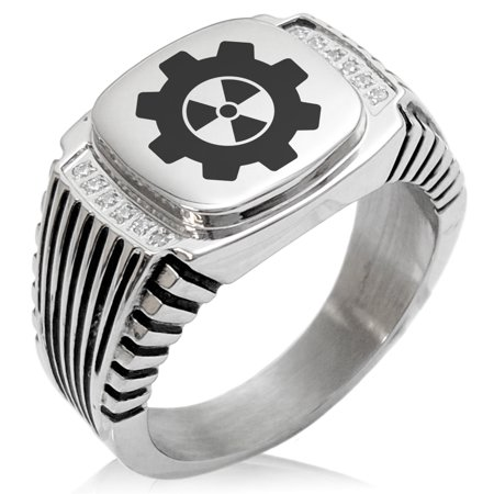 Stainless Steel Radioactive Gear CZ Ribbed Needle Stripe Pattern Biker Style Polished Ring ()