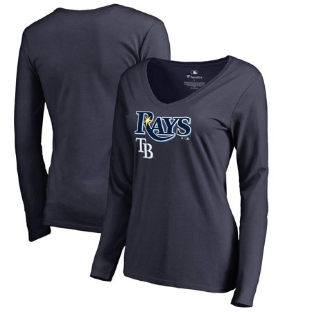 Tampa Bay Rays Fanatics Branded Women's Team Lockup Slim Fit Long Sleeve V-Neck T-Shirt - Navy