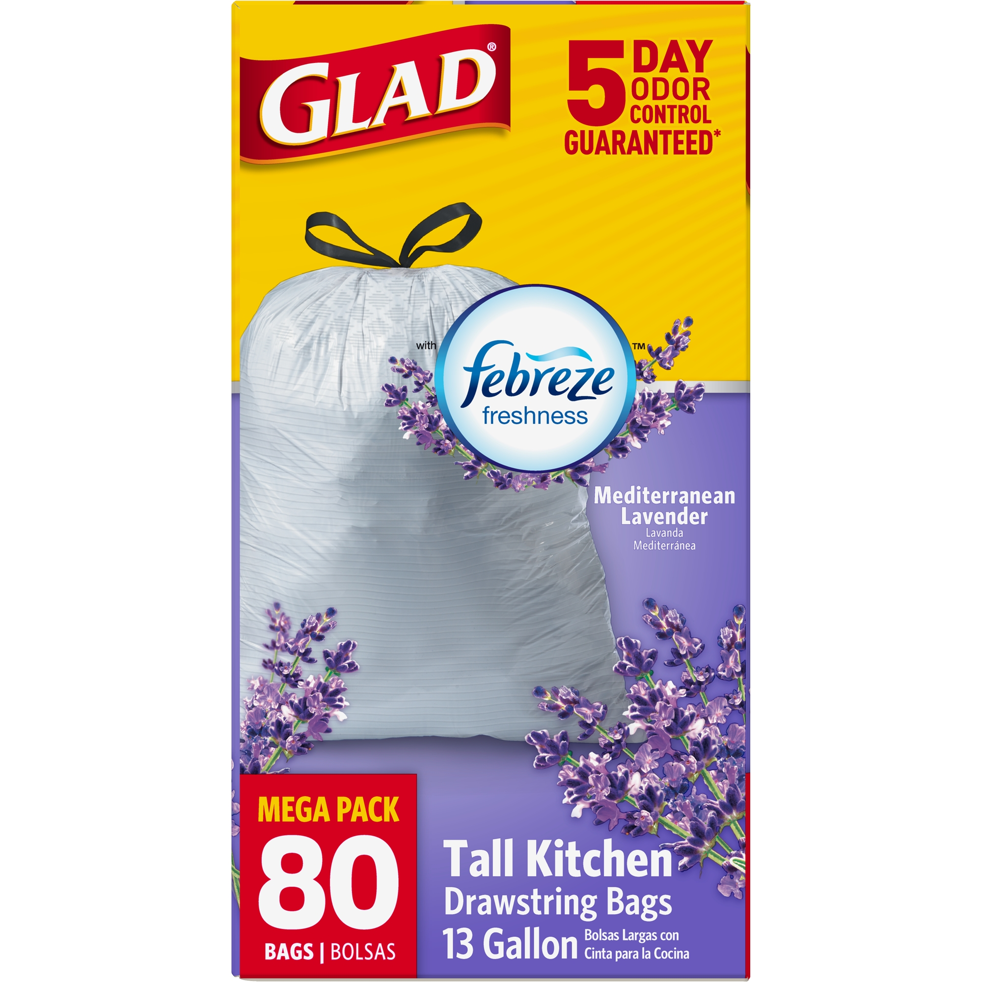Glad OdorShield Tall Kitchen Drawstring Trash Bags, Mediterranean Lavender, 13 Gallon, 80 Count
