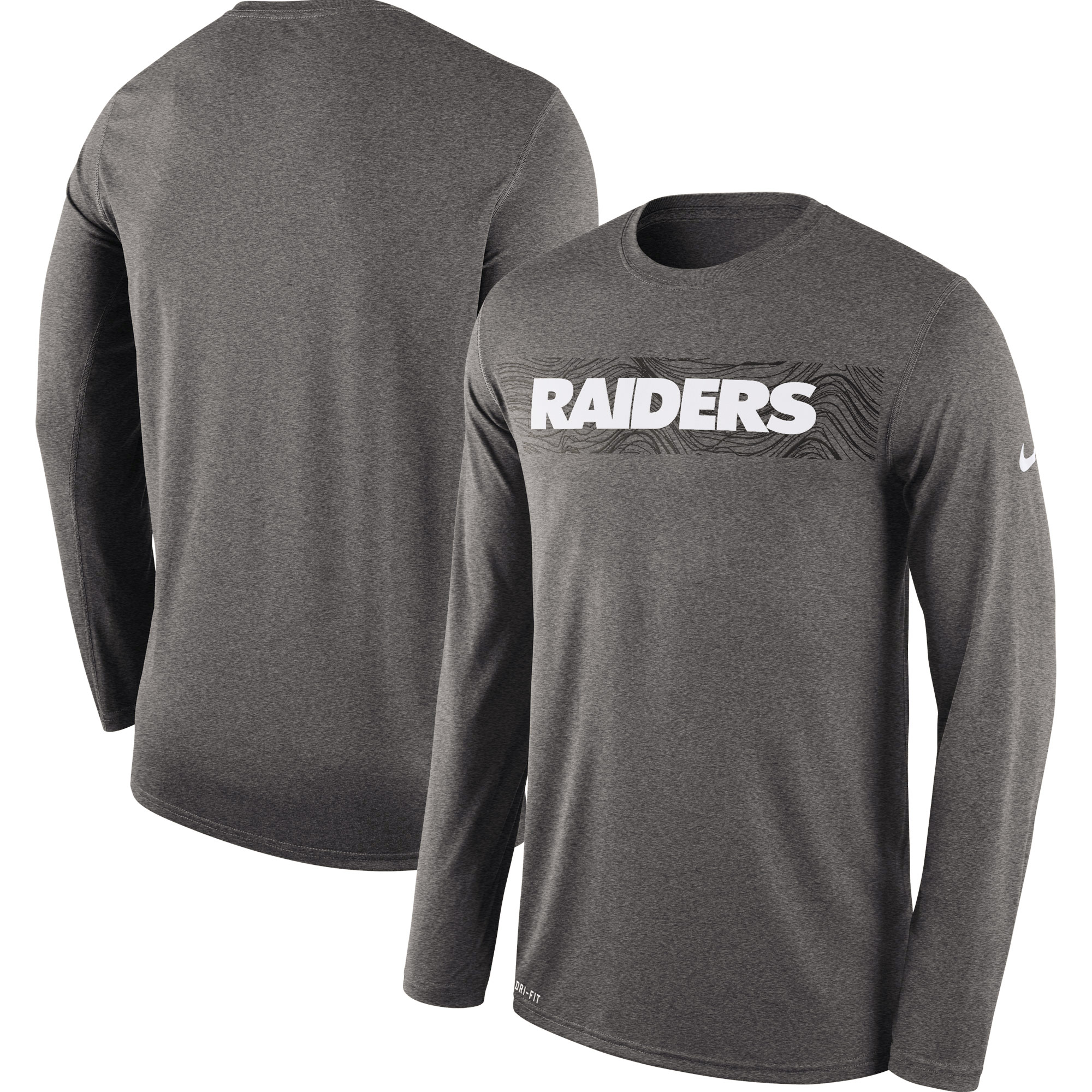 Oakland Raiders Nike Sideline Seismic Legend Long Sleeve T-Shirt - Heathered Charcoal
