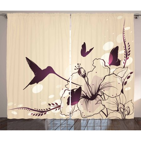 Birds Curtains 2 Panels Set, Flapping Tiny Hummingbird Interacting with Giant Flowers and Butterflies, Window Drapes for Living Room Bedroom, 108W X 108L Inches, Pale Peach and Purple, by Ambesonne ()