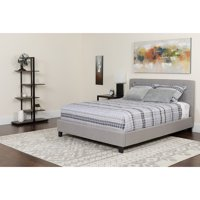 Full Size Upholstered Platform Bed in Light Gray Fabric