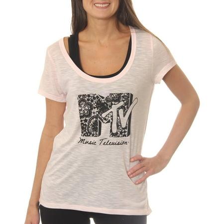 Mtv Music Television Womens Slub Scoop Neck Graphic Tee T Shirt