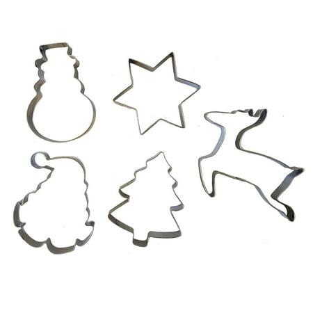 Christmas Metal Cookie Cutter 5 Piece Set Snowman Santa Reindeer Star Tree New ()