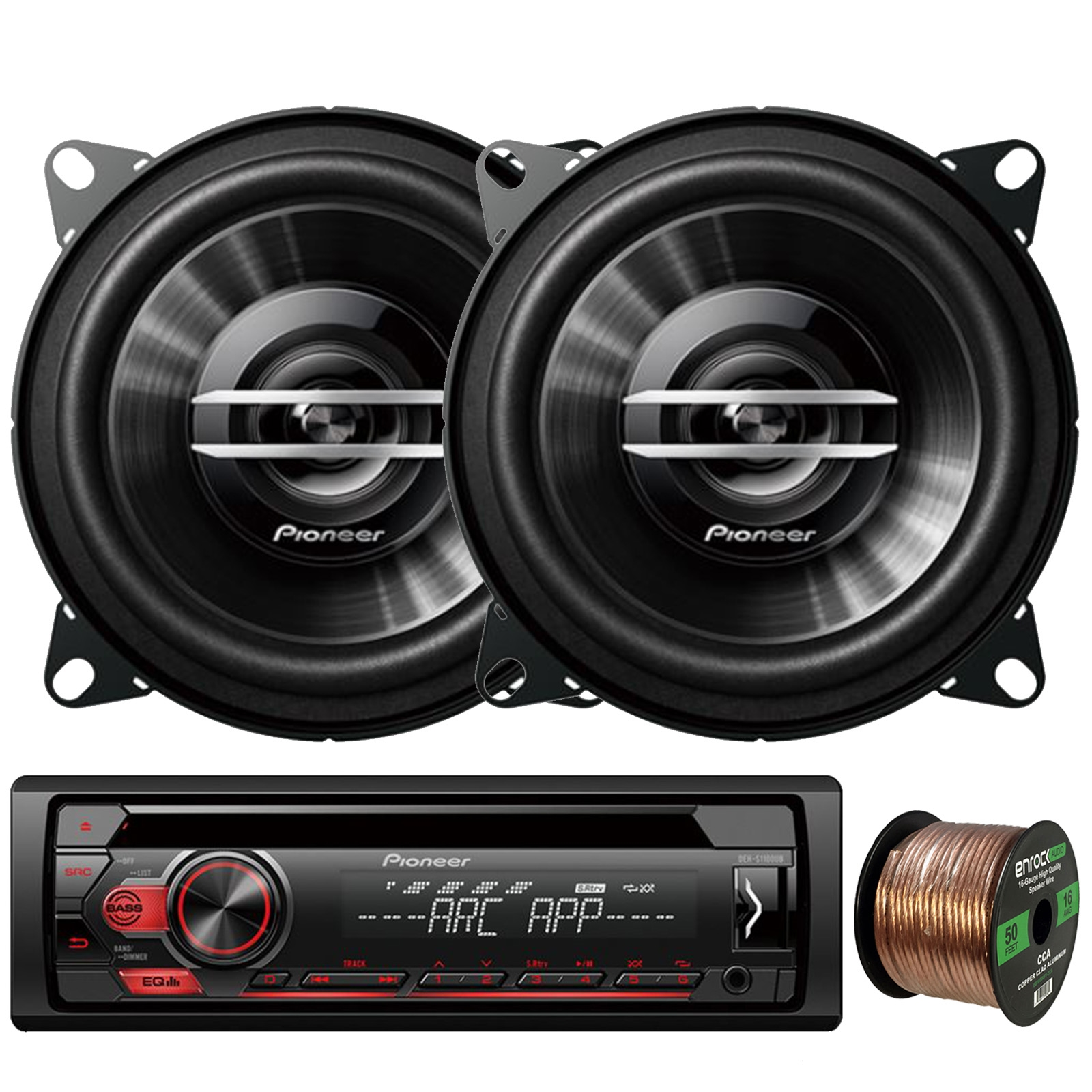 "Pioneer DEH-S1100UB Single-DIN CD Player AM/FM Car Stereo Receiver, 2 x Pioneer TS-G1020S 4"" 2-Way 210W Max Coaxial Car Speakers, Enrock Audio 16-Gauge 50Ft. CCA Speaker Wire"