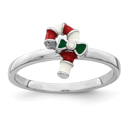 Sterling Silver Rhodium-plated for boys or girls Enameled Candy Cane Ring - Ring Size: 3 to (Boy Or Girl Wedding Ring On String)