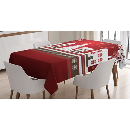 Christmas Decorations Tablecloth, Winter Holidays Theme Gingerbread House Tree Lights and Snowflakes Art, Rectangular Table Cover for Dining Room Kitchen, 60 X 84 Inches, Red White, by Ambesonne](Cowboy Themed Table Decorations)