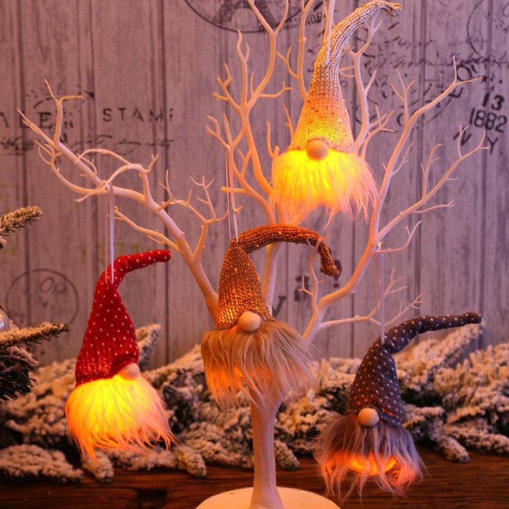 Gnome Doll LED Light Christmas Tree Hanging Pendant Ornament Xmas Decor