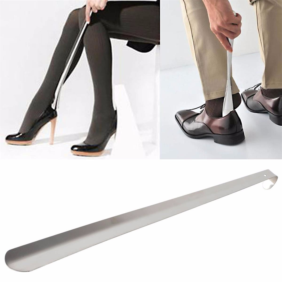 Meigar 23'' Metal Shoe Horn with Long Handle Stainless Steel Shoes Remover Shoehorn Shoe Care & Accessories for Women Men Dress Shoe Sneaker Boots