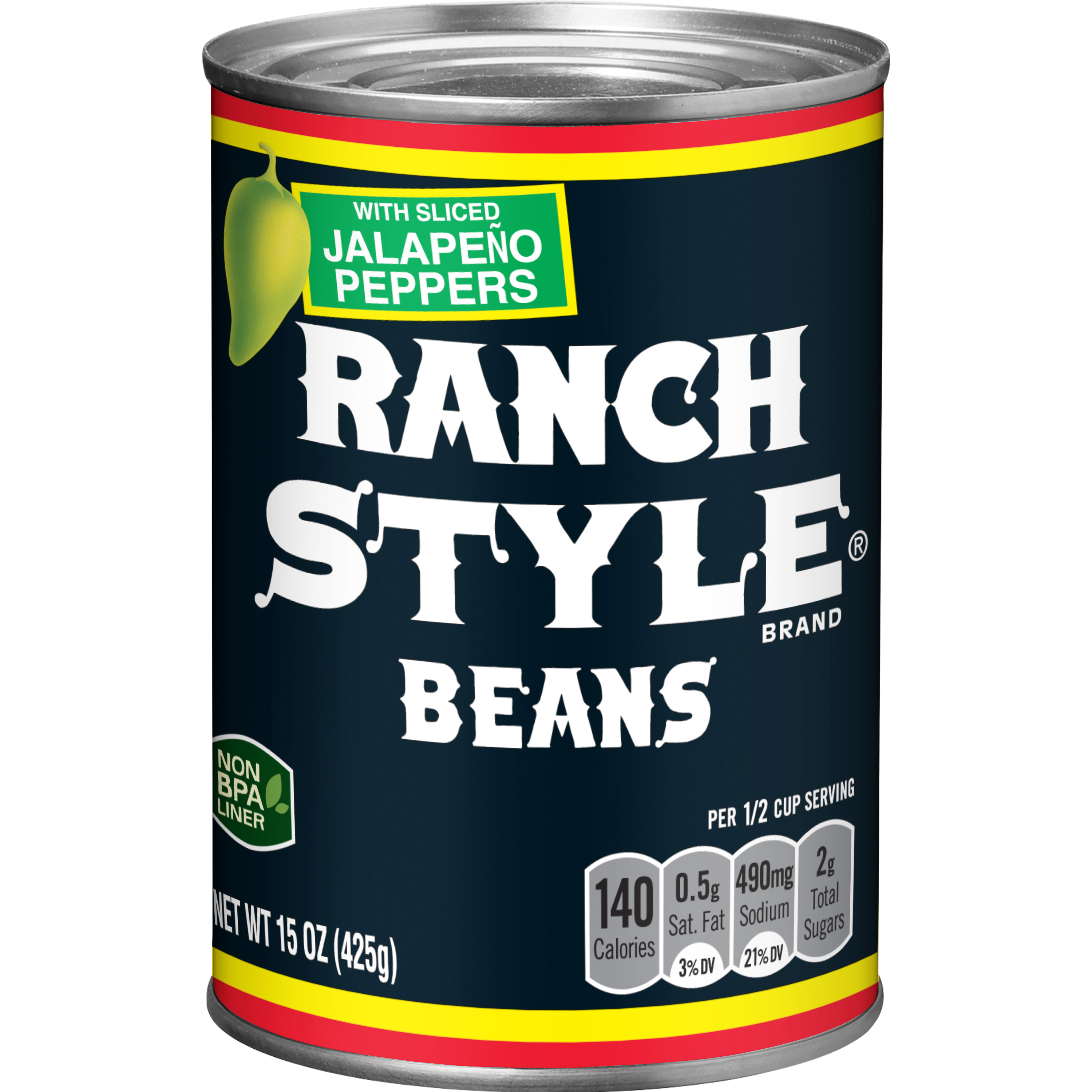 (6 Pack) Ranch Style Beans with Jalapeño Peppers, 15 Ounce