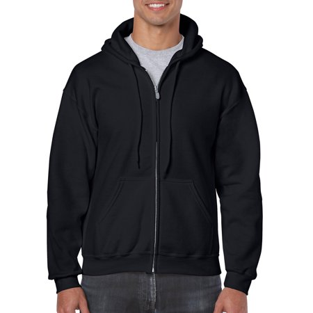 Quilted Hooded Zip Sweatshirt - Gildan Men's Full Zip Hooded Sweatshirt