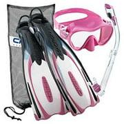 Cressi Reaction EBS Adjustable Mask Fin Dry Snorkel Scuba Gear Set