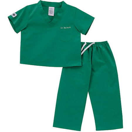 Personalized My Name Embroidered Green Scrubs