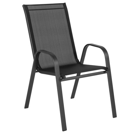 Brazos Series Flash Furniture Black Outdoor Stack Chair with Flex Comfort Material and Metal Frame