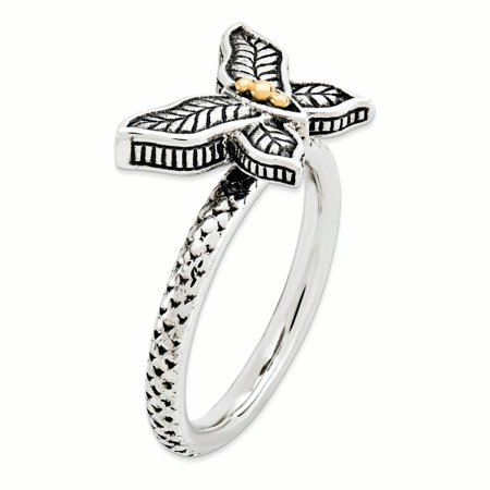 925 Sterling Silver 14k Band Ring Size 8.00 Stackable Fine Jewelry For Women Gifts For Her - image 2 of 7