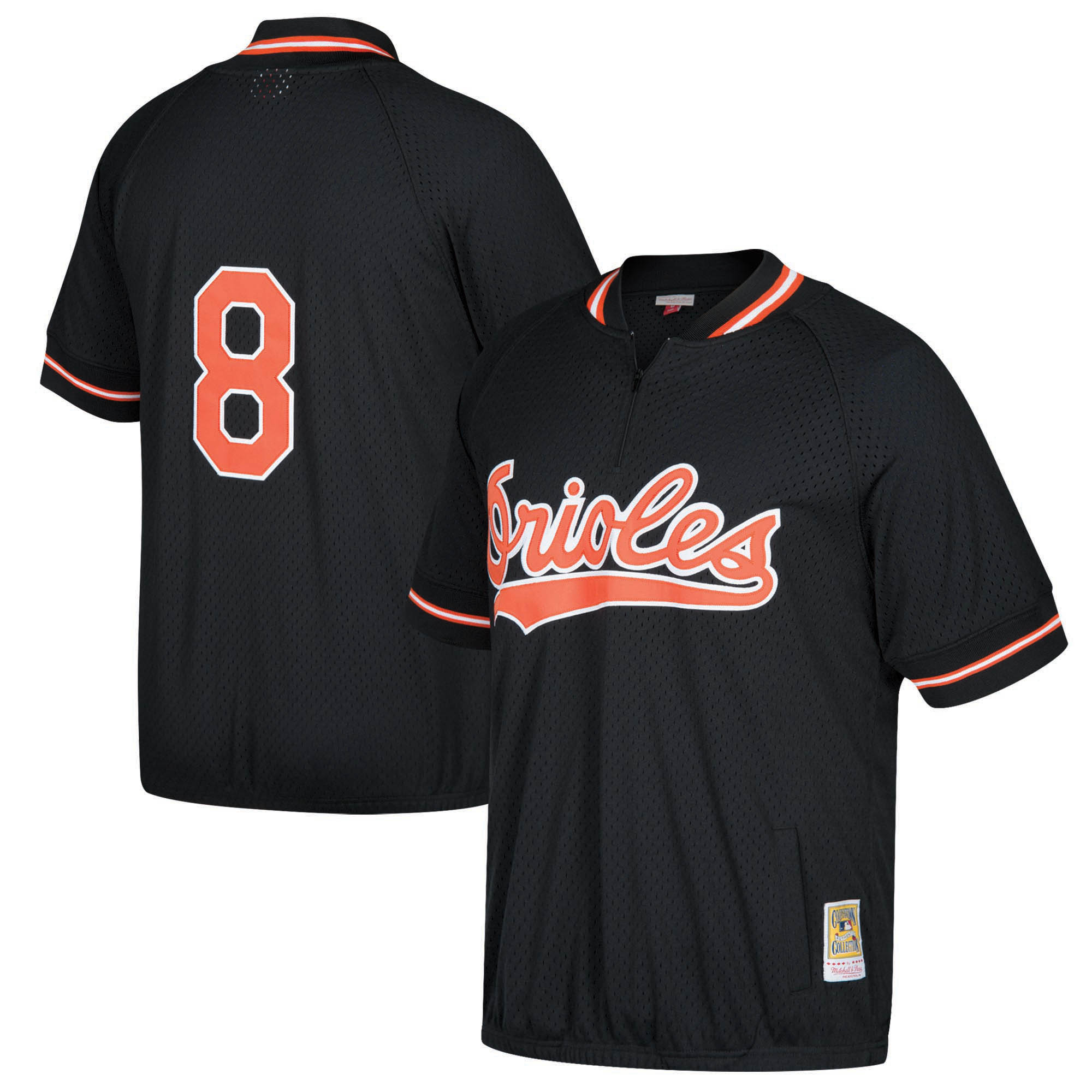 Cal Ripken Jr. Baltimore Orioles Mitchell & Ness Cooperstown Collection Mesh Batting Practice Quarter-Zip Jersey - Black