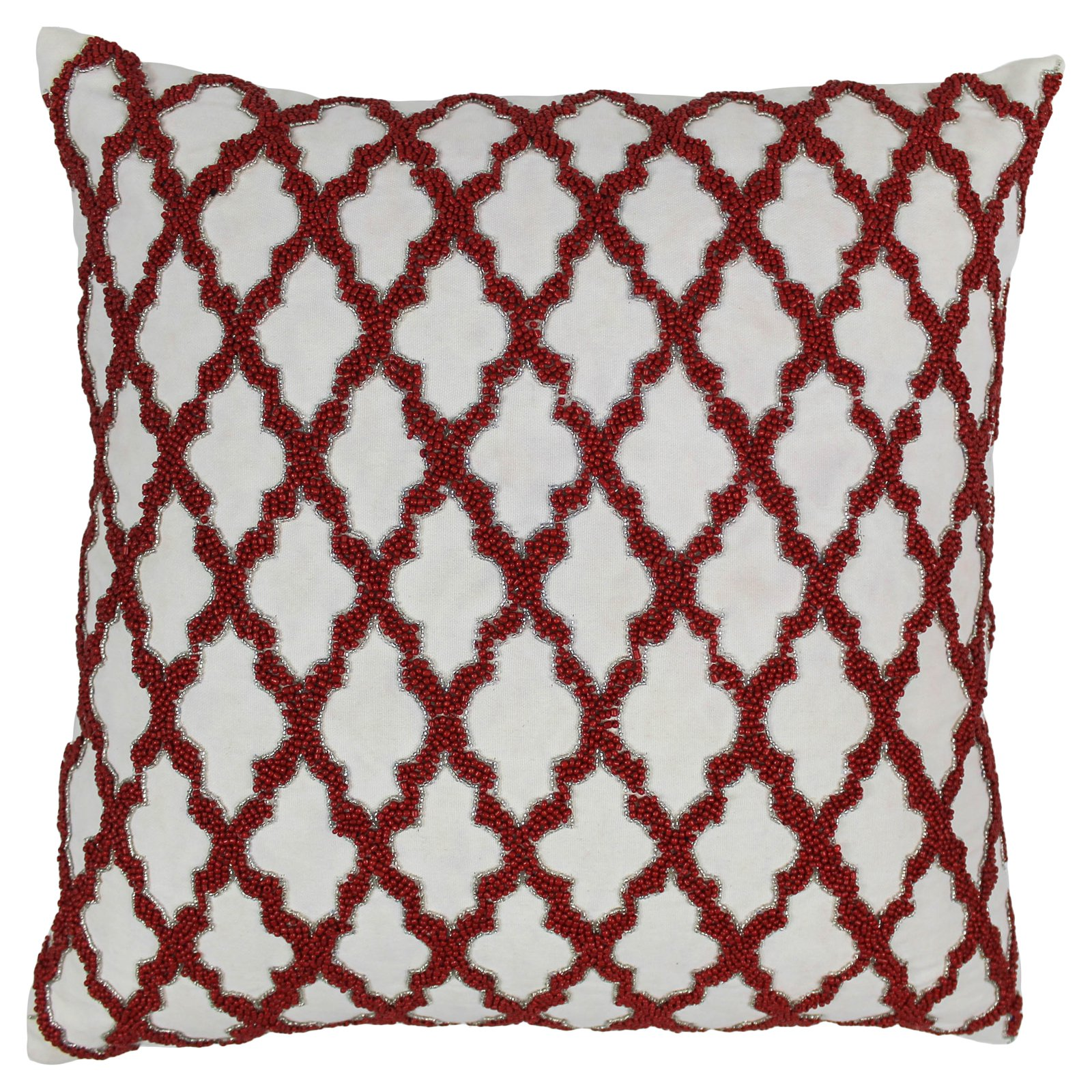 Blazing Needles 20 x 20 in. Moroccan Patterned Beaded Cotton Throw Pillow
