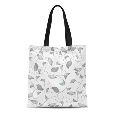 Small Canvas Tote (ASHLEIGH Canvas Tote Bag Blue Pattern Small Leafs Gray Baroque Modern Light Graphic Durable Reusable Shopping Shoulder Grocery)