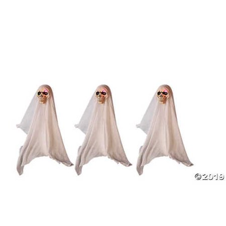 Set of 3 Color Changing LED Lighted Face Ghost Yard Stakes Halloween Party Haunted House Prop Decoration